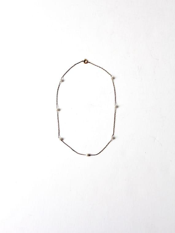 vintage faux pearl chain necklace - image 1