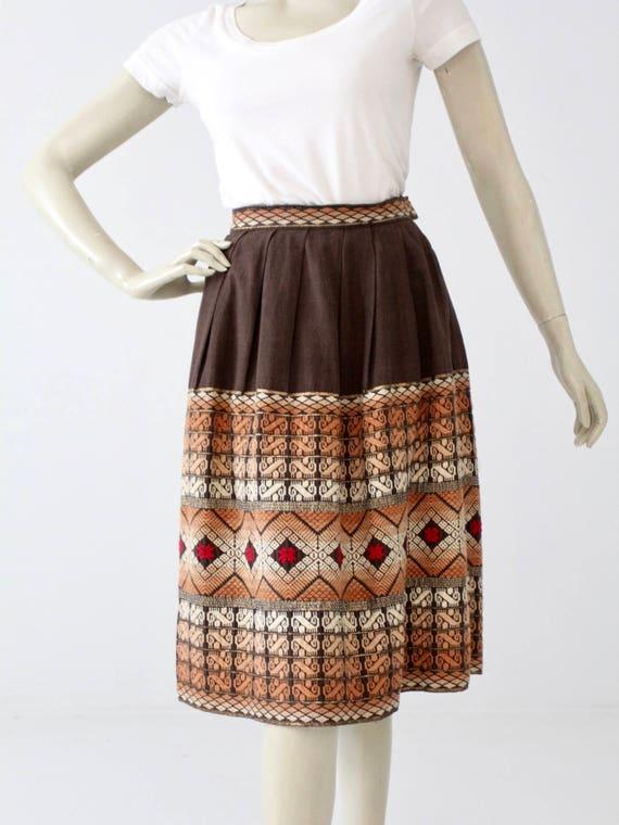 vintage embroidered skirt, brown boho southwest sk