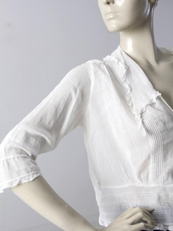 Edwardian blouse, antique white cotton top - image 8