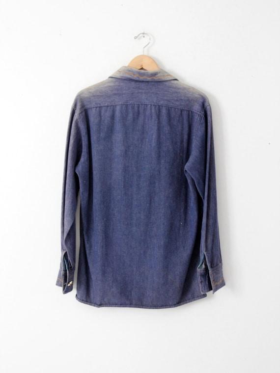 vintage 70s denim shirt / embroidered hippie top - image 2