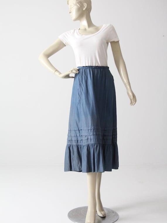 vintage peasant skirt, blue cotton prairie skirt