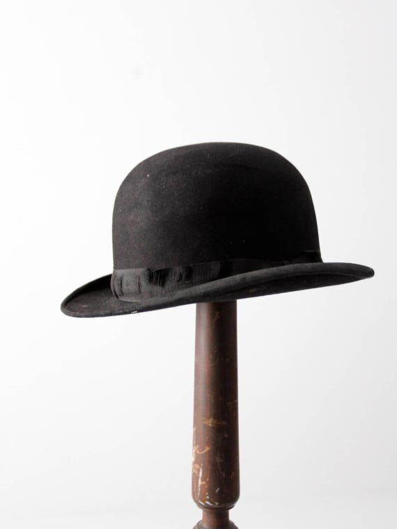 antique bowler hat, Keith black hat