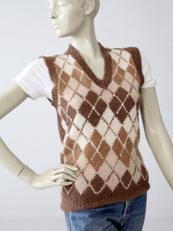 vintage Nordstroms alpaca sweater vest, argyle ve… - image 3