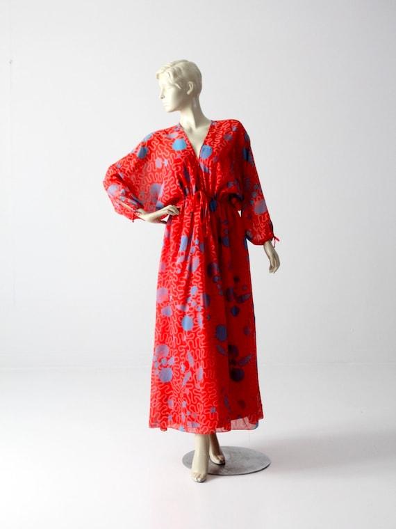 1970s Zandra Rhodes dress, boho print red maxi dre