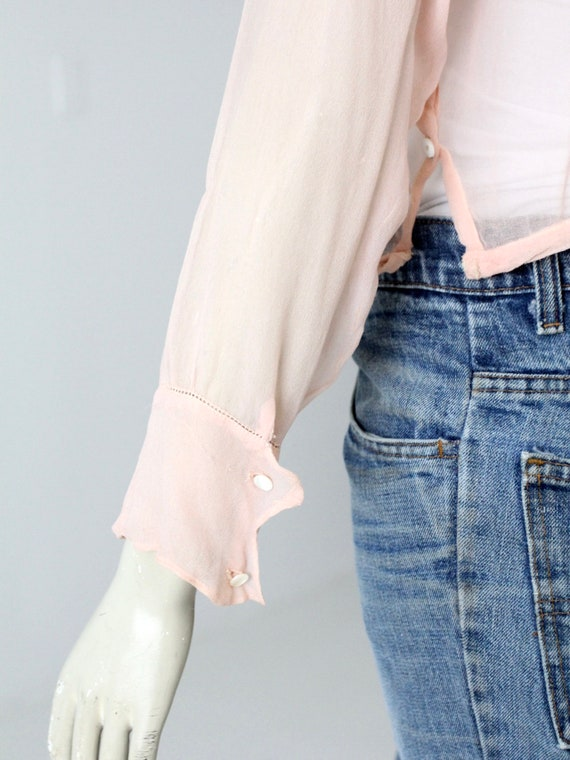 antique silk blouse, Edwardian pink top - image 6