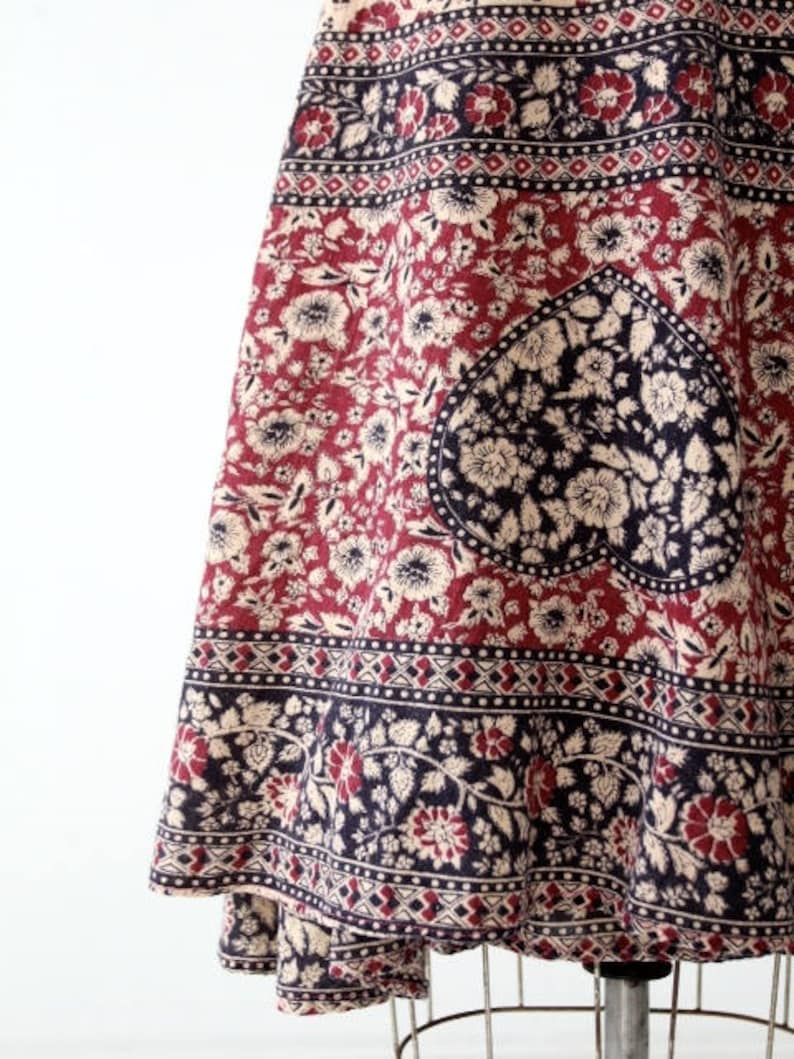 block print skirt vintage 70s India cotton wrap skirt
