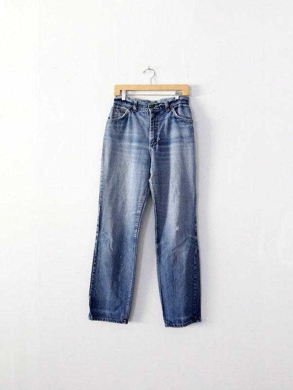 1970s high waist Lee jeans, vintage blue jeans, wa