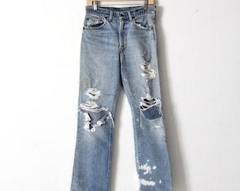 vintage Levis 517 jeans, distressed boot cut denim, 31 x 31