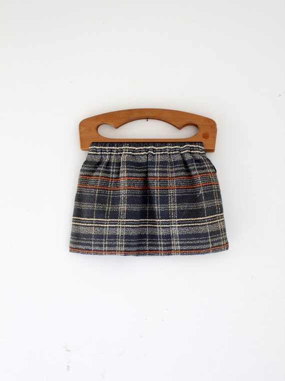 1940s plaid knitting bag, vintage barkcloth purse