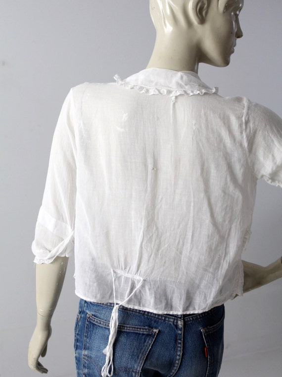 Edwardian blouse, antique white cotton top - image 5