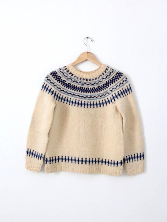 vintage ski sweater, nordic fair isle pullover swe