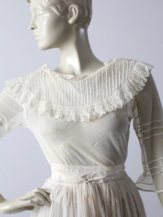 Victorian white lace dress, xs antique dress - image 2
