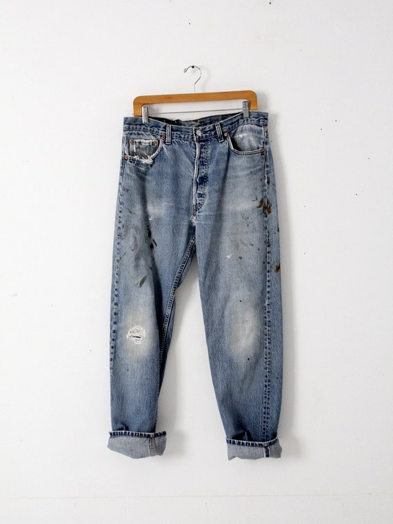 vintage 501s, Levis 501 denim jeans, distressed p… - image 1