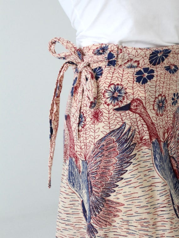1970s India cotton wrap skirt, bird print - image 4