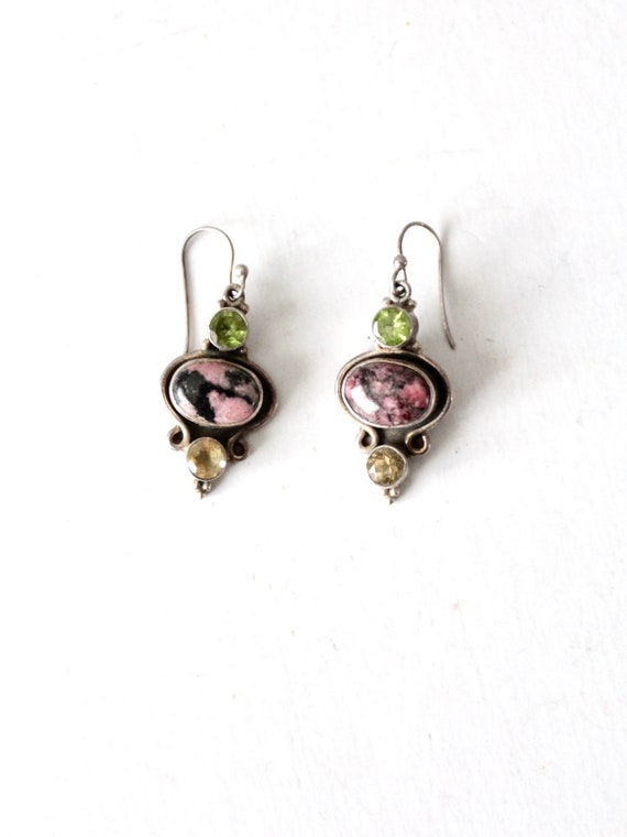vintage rhodonite & sterling silver drop earrings