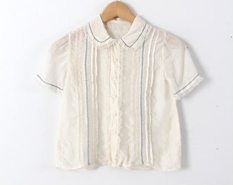 1920s silk blouse, cream pin tuck lace button up top xs