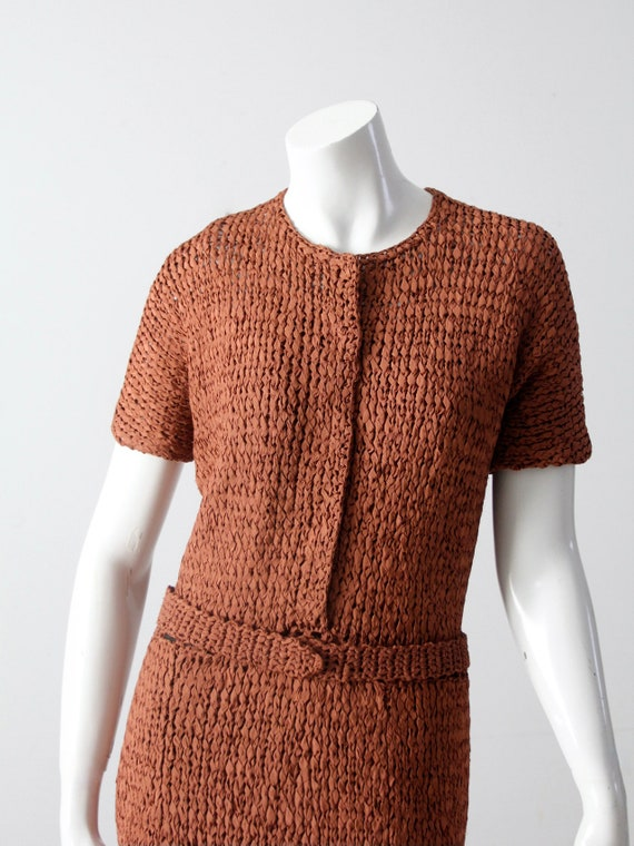 vintage 1940s knit ribbon dress - image 4