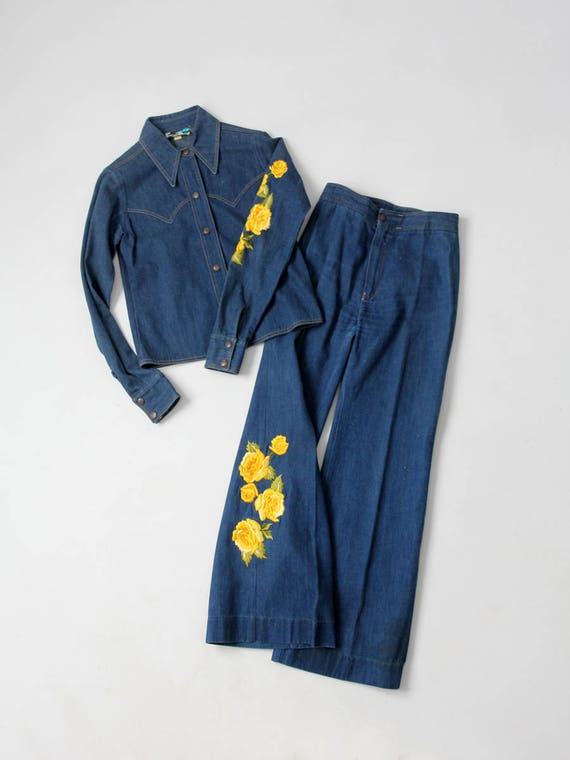 1970s Antonio Guiseppe denim suit, embroidered den