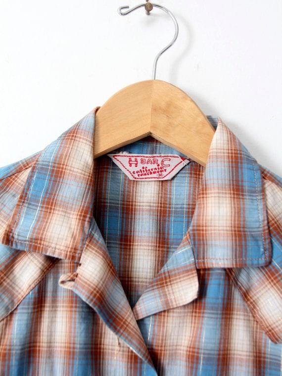H Bar C women's shirt, 60s western rockabilly blo… - image 5