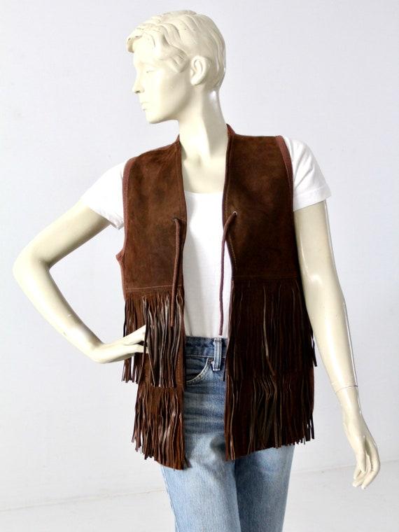 vintage fringe leather and knit vest, brown wester