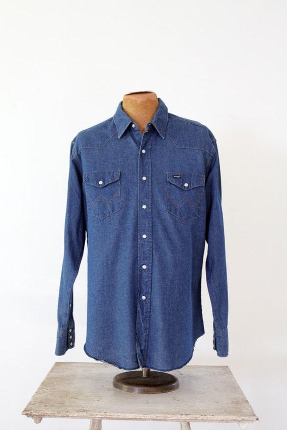 Wrangler denim shirt, vintage men's large snap fro