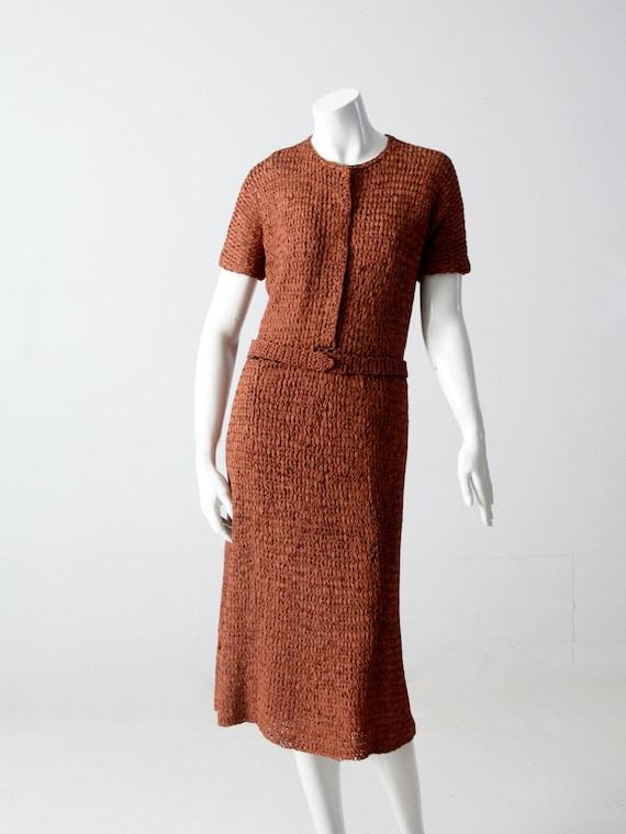vintage 1940s knit ribbon dress - image 2