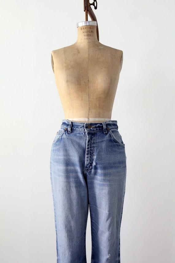 1970s high waist Lee jeans, vintage blue jeans, w… - image 2