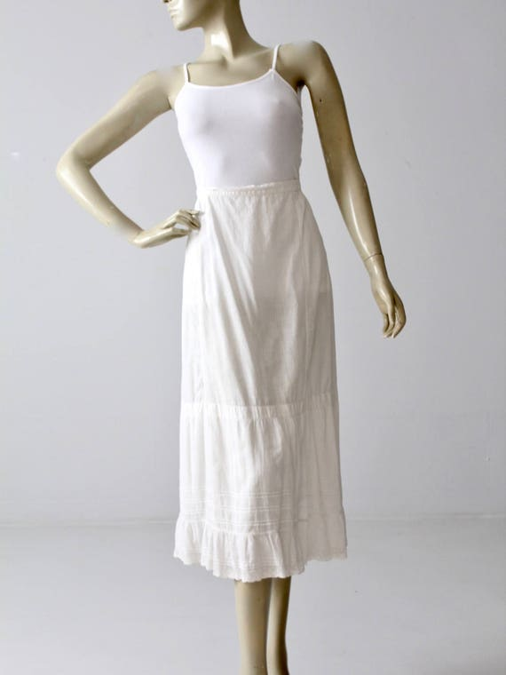 Edwardian skirt, antique white petticoat