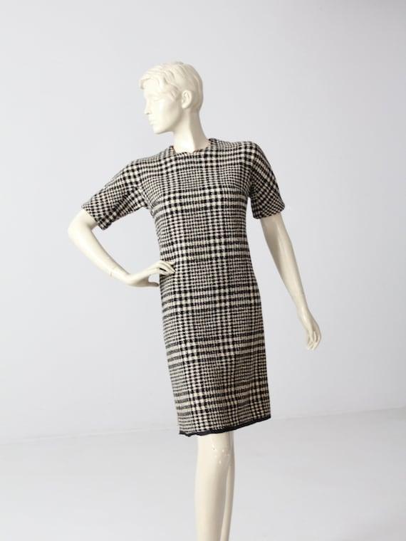 vintage 60s houndstooth plaid dress, plaid wool sh