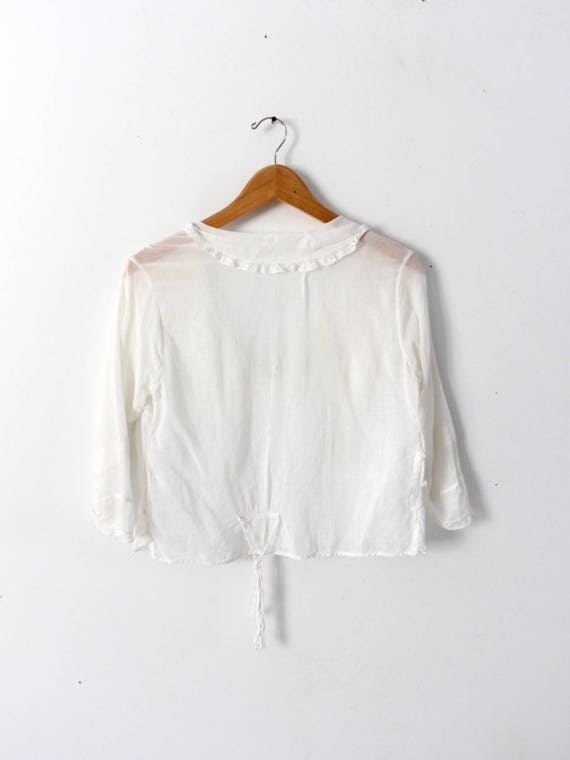 Edwardian blouse, antique white cotton top - image 9