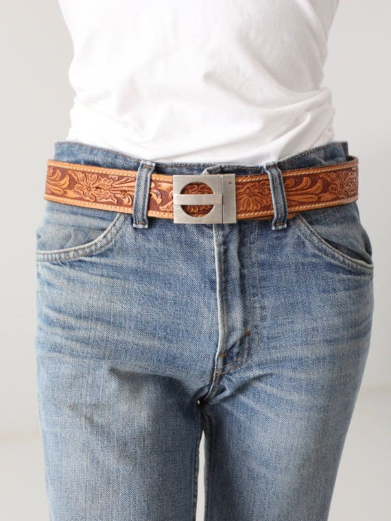 vintage 70s tooled leather belt, geometric buckle