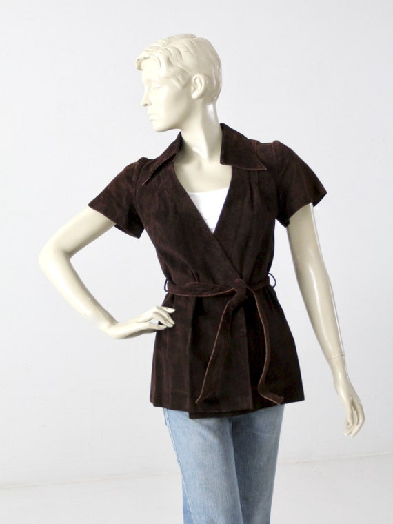 1960s suede leather wrap top