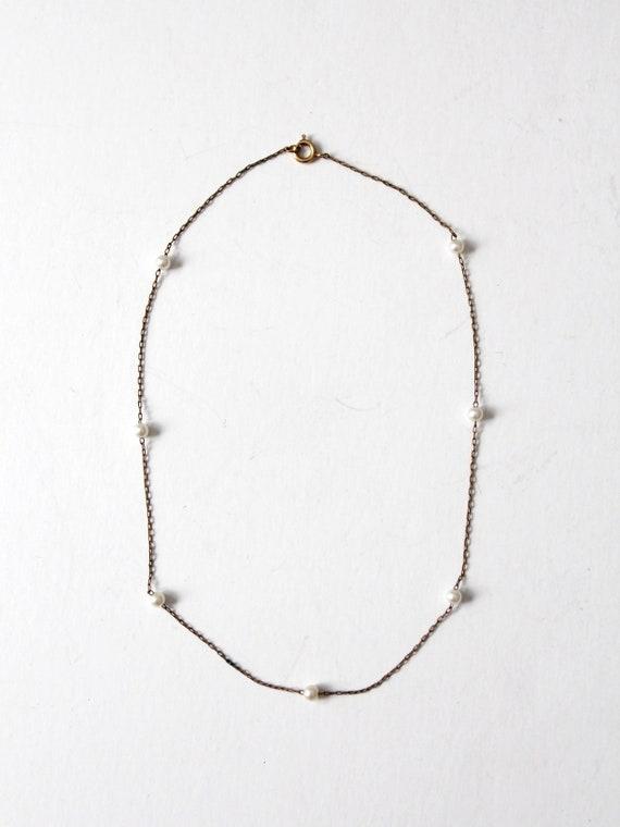 vintage faux pearl chain necklace - image 2