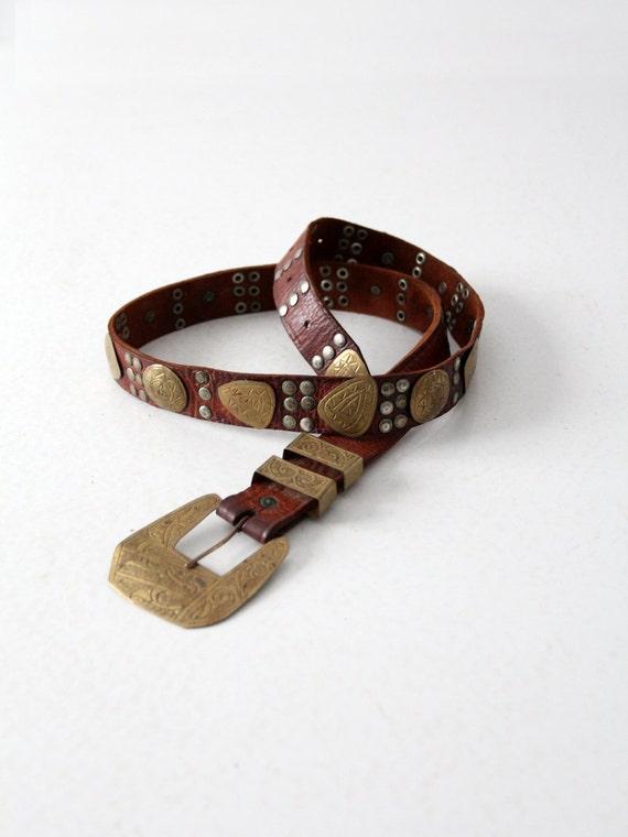 vintage concha belt, gold medallion brown leather