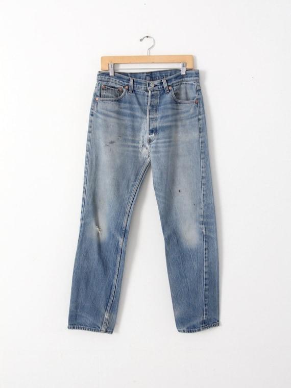 vintage 501 Levi's denim jeans, distressed Levis … - image 2