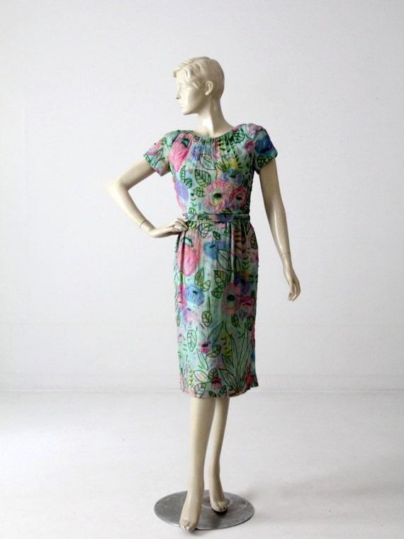 1960s beaded watercolor dress, vintage chiffon seq