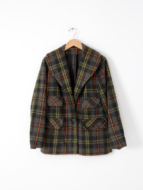 vintage 40s wool coat, plaid single button jacket