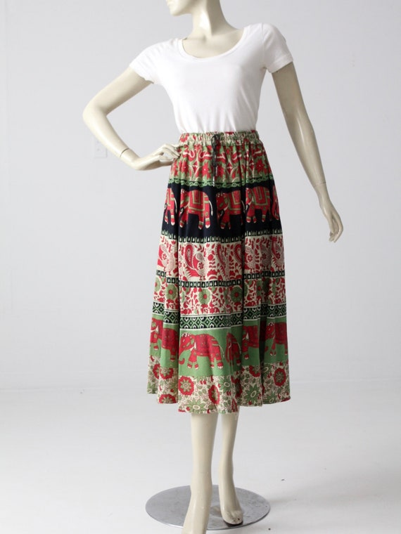 vintage 70s boho skirt, block print elephant hippi