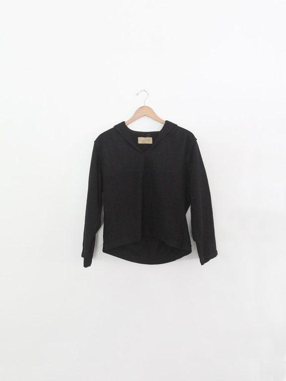 vintage sailor shirt, naval clothing navy wool top