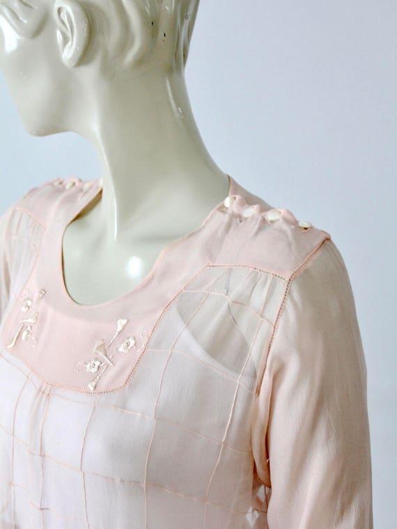antique silk blouse, Edwardian pink top - image 3