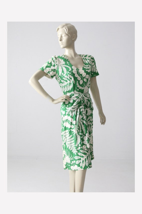 vintage tropical print dress, 1960s floral sundres