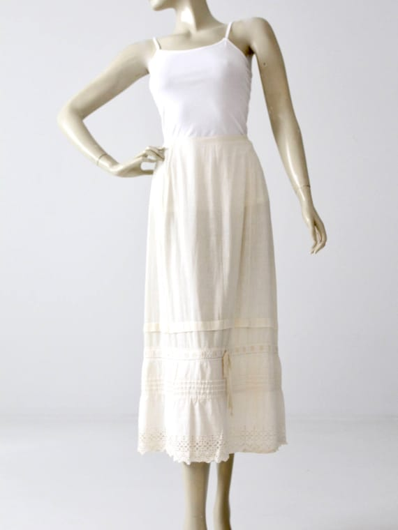 antique petticoat, Edwardian slip, white cotton sk