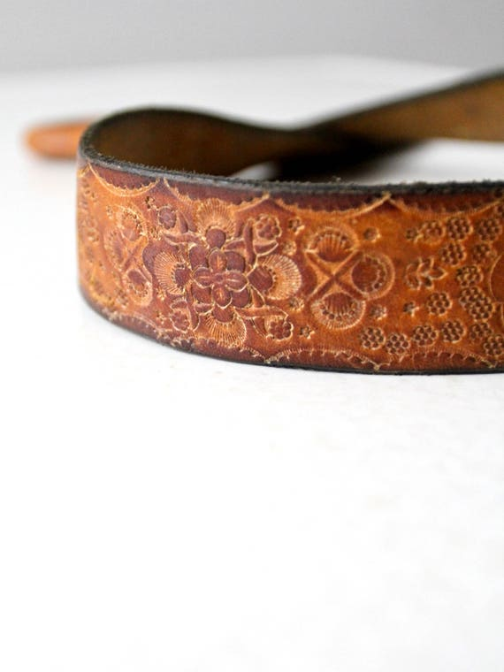 vintage hippie belt, 70s tooled leather belt - image 3