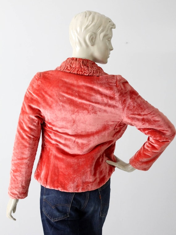 vintage velvet blazer, coral velvet jacket - image 6