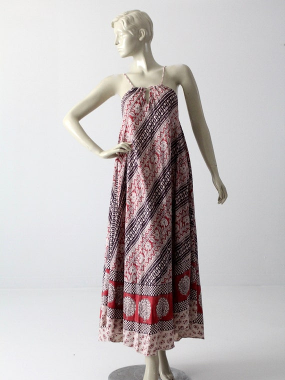 vintage 70s India cotton dress, boho print sundres