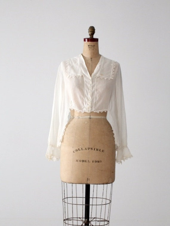 1900s blouse, Victorian white top, antique cotton… - image 2