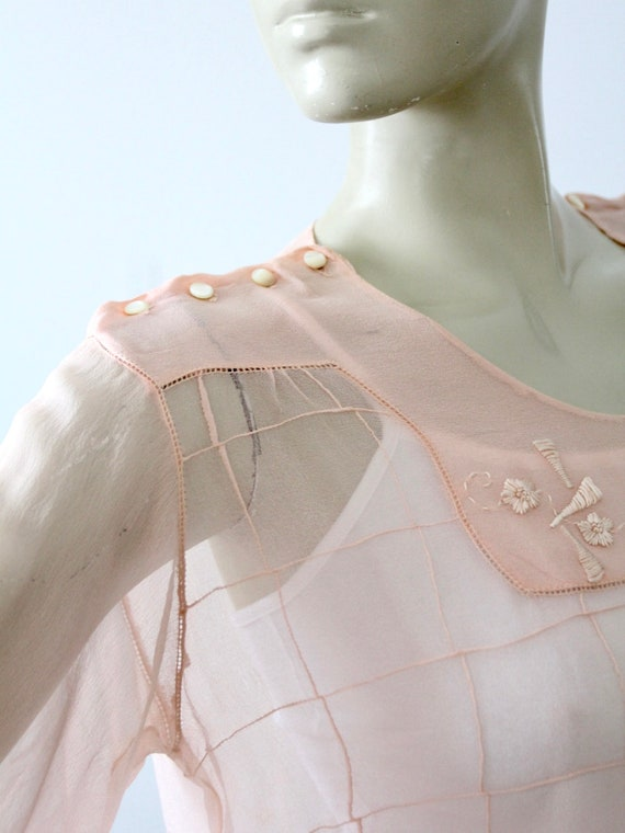 antique silk blouse, Edwardian pink top - image 8