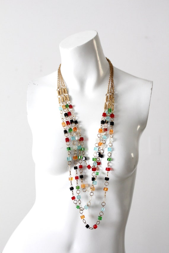 vintage multi chain beaded necklace - image 2