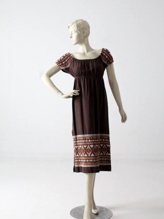 vintage 70s embroidered peasant dress - image 2