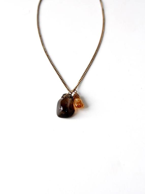 vintage charm necklace, agate stone pendant neckla